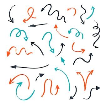 Coleção de flecha desenhada à mão