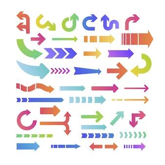 Coleção de flechas coloridas