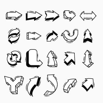 Coleção de flechas de desenho animado