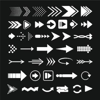 Coleção de flechas de design plano