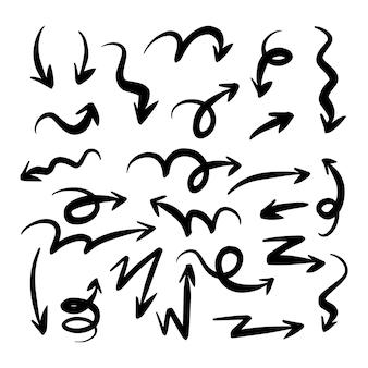 Coleção de flechas desenhadas à mão