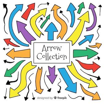 Coleção de flechas em cores diferentes