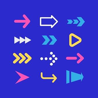 Coleção de flechas planas coloridas