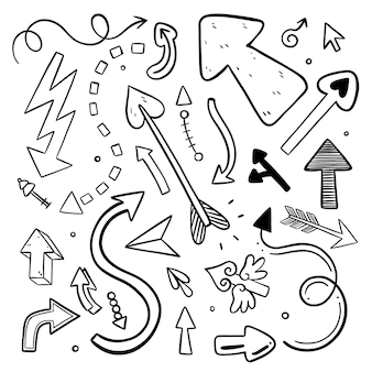 Coleção de flechas rabiscadas de desenho animado