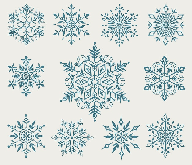 Coleção de flocos de neve decorativos de natal