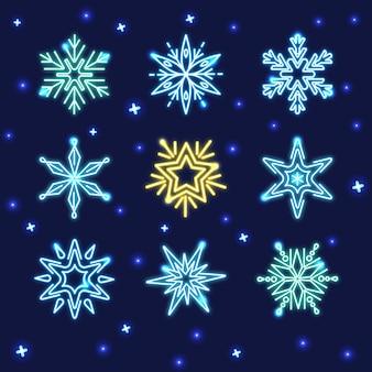 Coleção de flocos de neve néon brilhantes