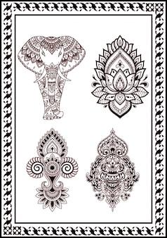 Coleção de flor desenho henna e tatuagens. decoração em cor preta de estilo oriental indiano