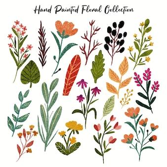 Coleção de flores coloridas, folha, planta, floresta, tropical, folhas, flora, primavera, em, mão, desenhado, pintado, estilo aquarela