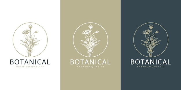 Coleção de flores com logotipo floral em estilo minimalista