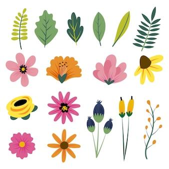Coleção de flores da primavera desenhada à mão