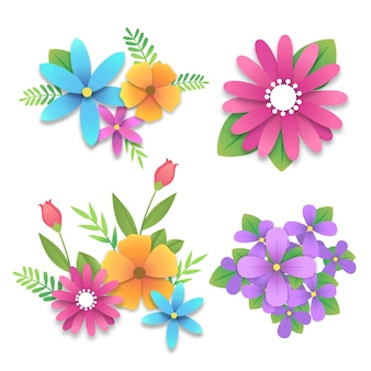 Coleção de flores da primavera em estilo de jornal