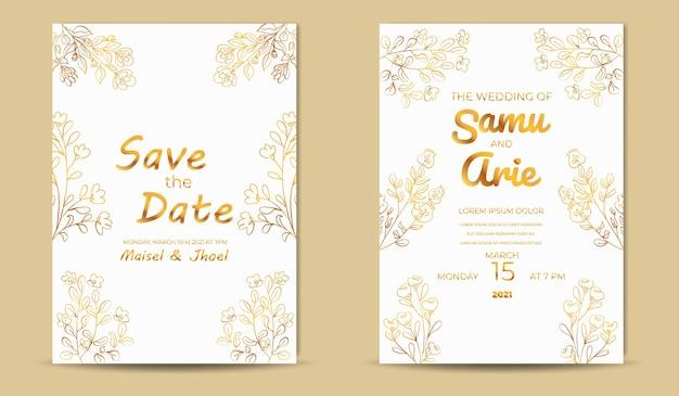 Coleção de flores de convite de ouro branco de casamento