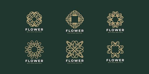 Coleção de flores de design de logotipo de luxo