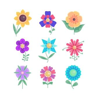 Coleção de flores de design plano