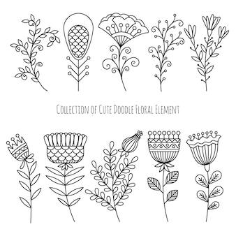 Coleção de flores de doodle mão desenhada