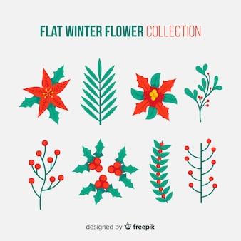 Coleção de flores de inverno plana