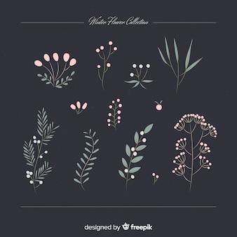 Coleção de flores de inverno vintage