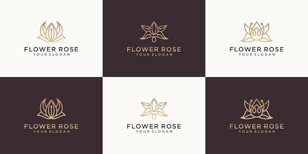 Coleção de flores de luxo com design de logotipo