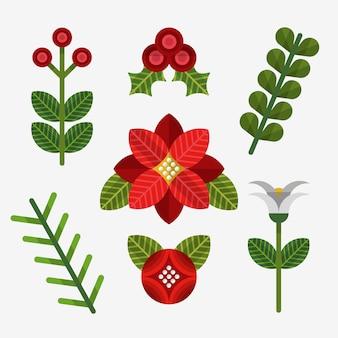 Coleção de flores de natal de design plano