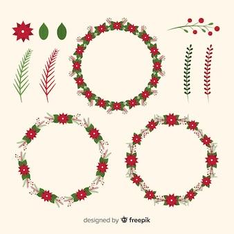 Coleção de flores de natal e guirlanda em design plano