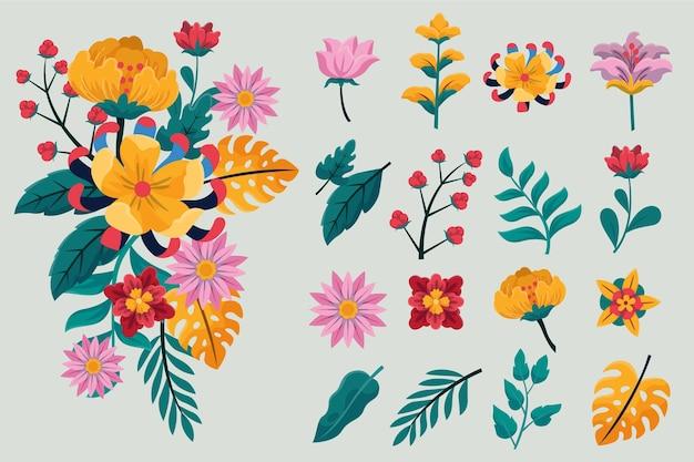 Coleção de flores de primavera com design plano