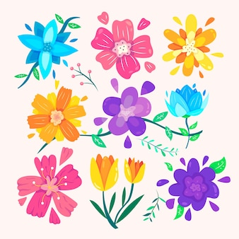 Coleção de flores de primavera de design plano