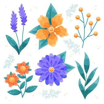 Coleção de flores de primavera desenhada à mão