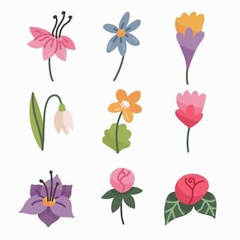 Coleção de flores de primavera desenhados à mão