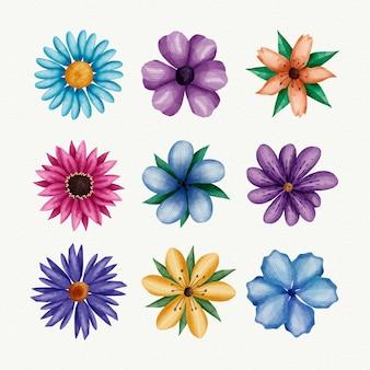 Coleção de flores de primavera em aquarela
