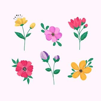 Coleção de flores de primavera em design plano