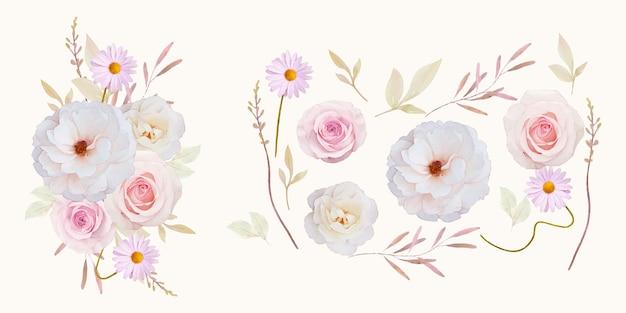 Coleção de flores de rosas em aquarela