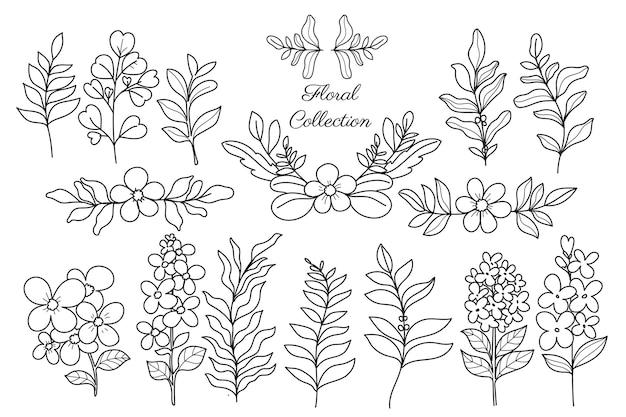 Coleção de flores desenhadas à mão de arte em linha