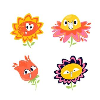 Coleção de flores do personagem