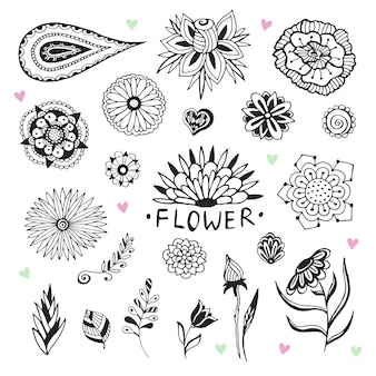 Coleção de flores do vetor em estilo zentangle