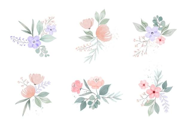 Coleção de flores e folhas em aquarela