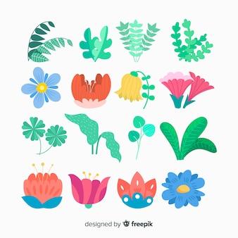 Coleção de flores e folhas