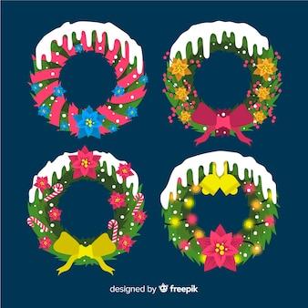 Coleção de flores e grinalda de natal em design plano