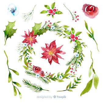 Coleção de flores e grinaldas de natal em aquarela