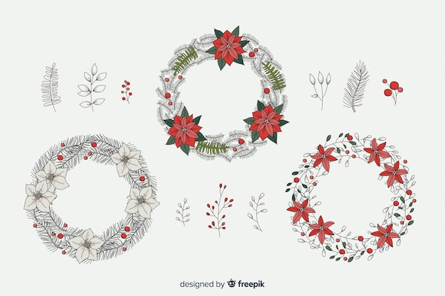 Coleção de flores e grinaldas vintage natal