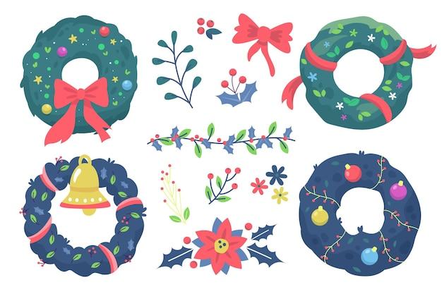 Coleção de flores e guirlandas de natal desenhada à mão