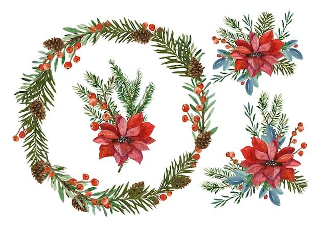 Coleção de flores e guirlandas de natal em aquarela