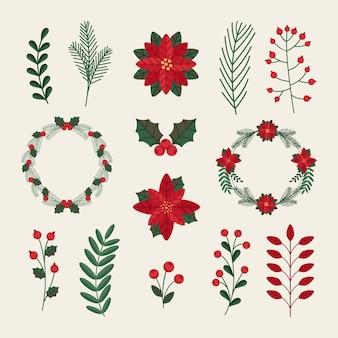 Coleção de flores e guirlandas de natal em design plano