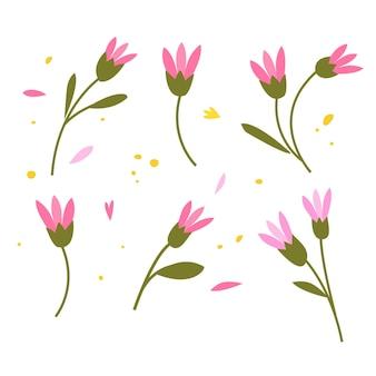 Coleção de flores e ramos de esboço desenhado à mão