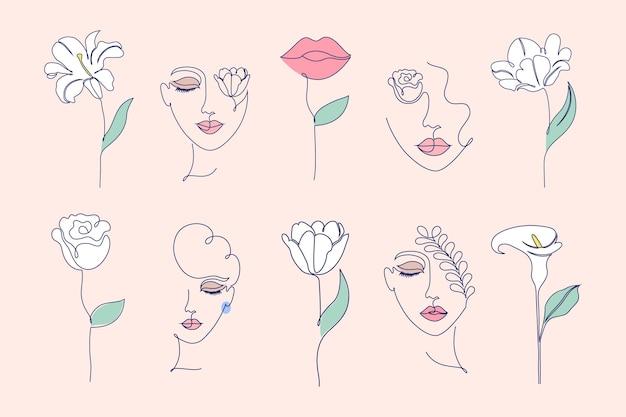 Coleção de flores e rostos femininos em um estilo de desenho de linha.