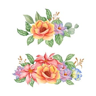 Coleção de flores elegantes desabrochando