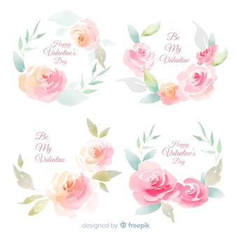 Coleção de flores em aquarela para dia dos namorados