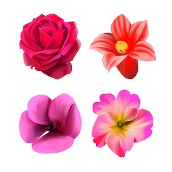 Coleção de flores em aquarela primavera