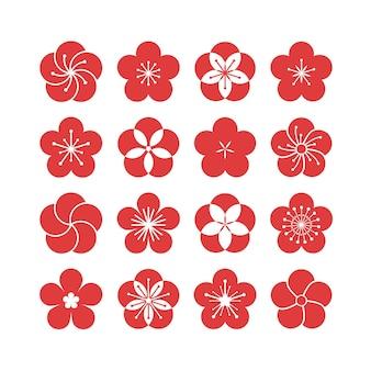 Coleção de flores em flor de ameixa