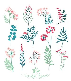 Coleção de flores estilizadas da primavera. elementos florais fofos para seu projeto. conjunto de flores. branco.