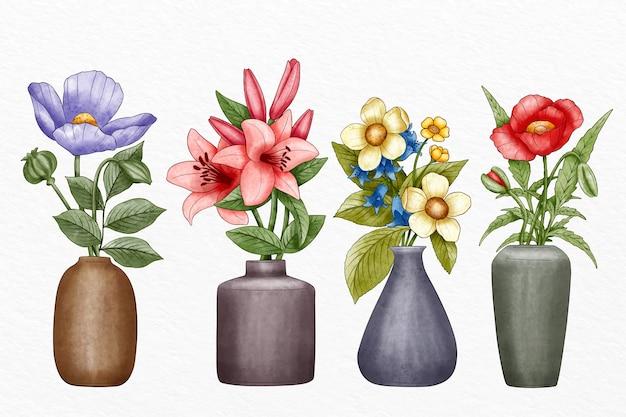 Coleção de flores estilo pintado à mão